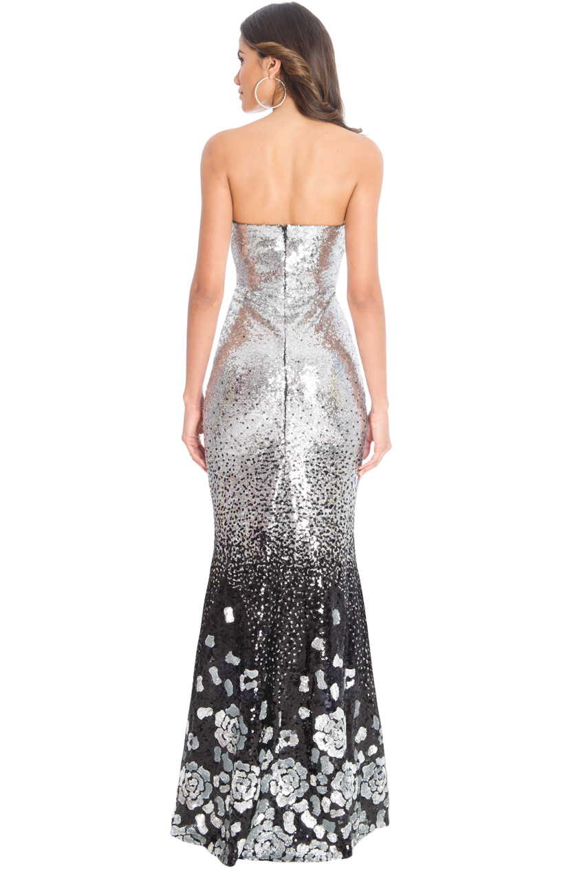 Goddiva womens dress maxi silver floral gradieted sequin for Shoes for maxi dress wedding