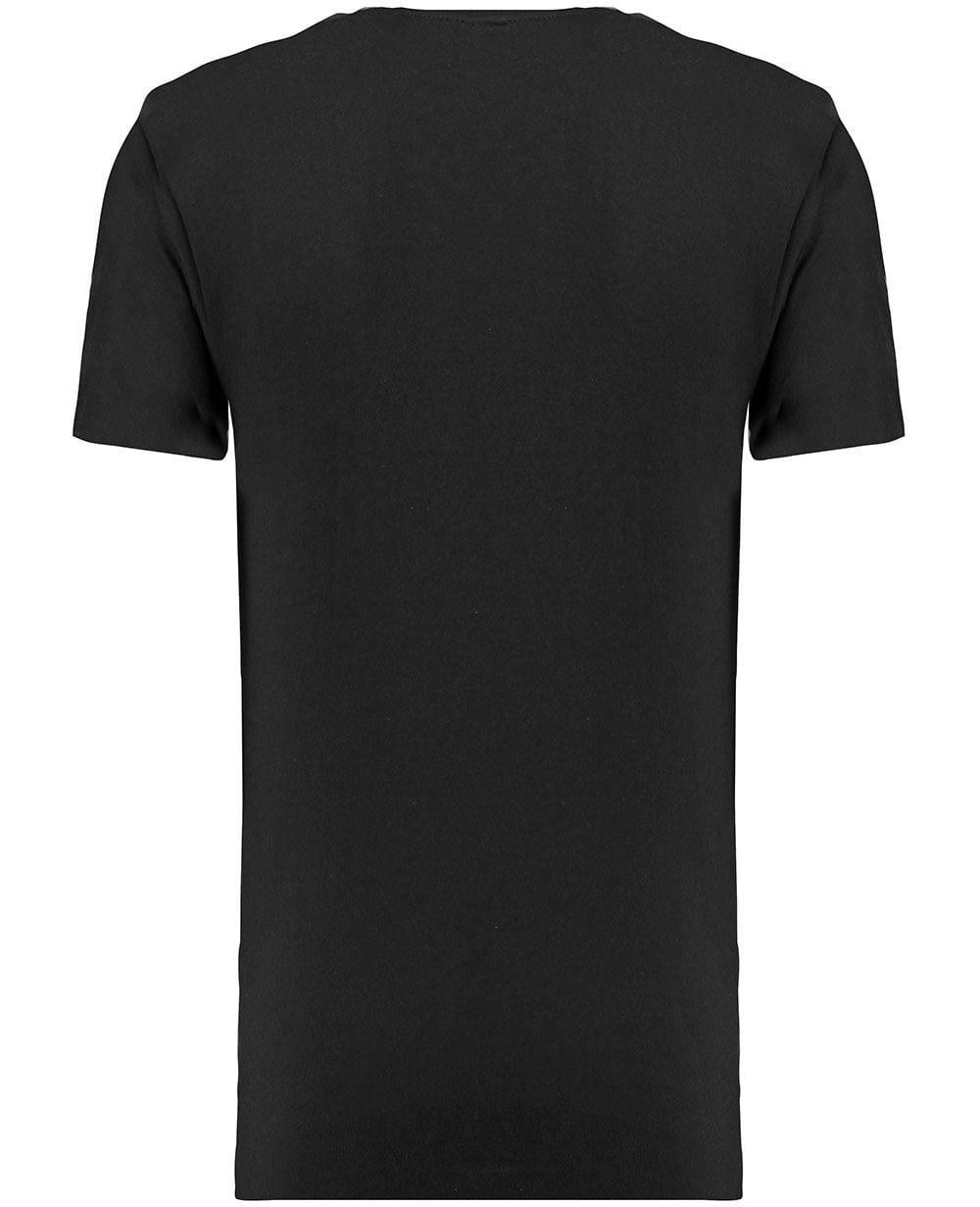Industrialize mens t shirt black basic plain long line for Long line short sleeve t shirt