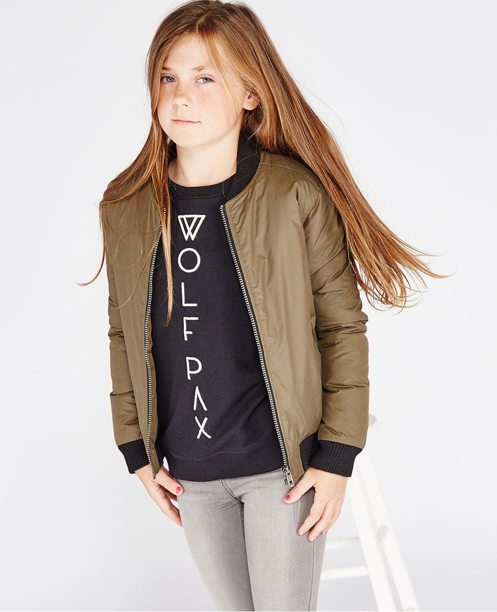 Wolf Pax Kids Girls Bomber Jacket Khaki Green Baseball Neckline ...