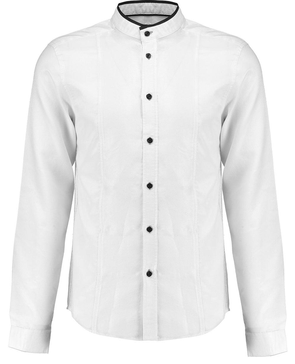 Retro Fire Mens Shirt White Long Sleeve Grandad Formal