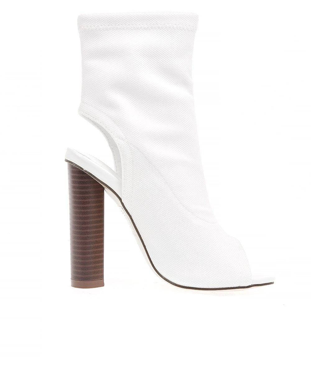 blue inc womens white peep toe boots back cut out high