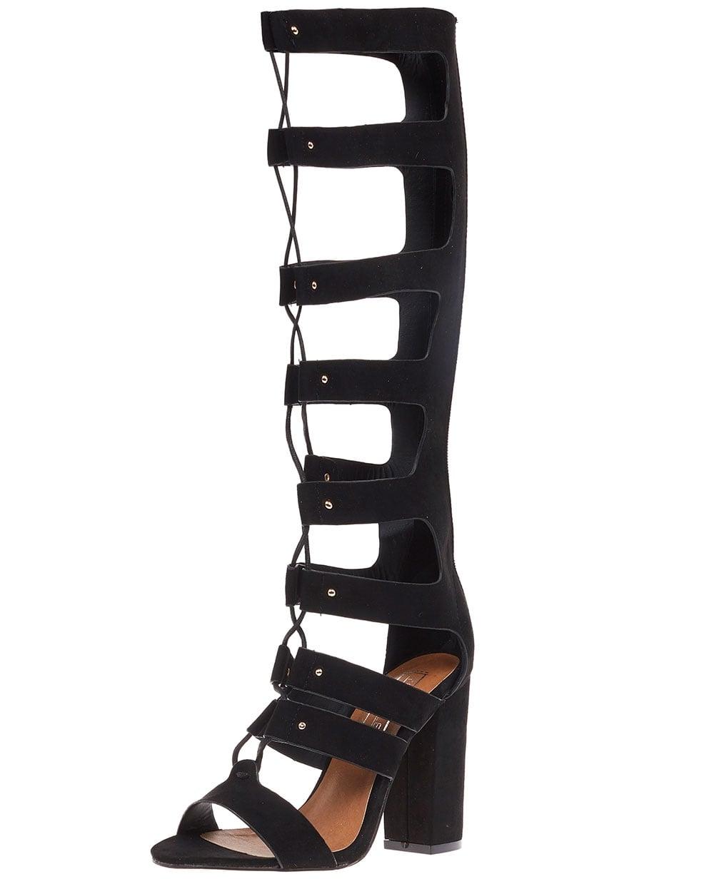 blue inc womens gladiator sandals black suede knee high