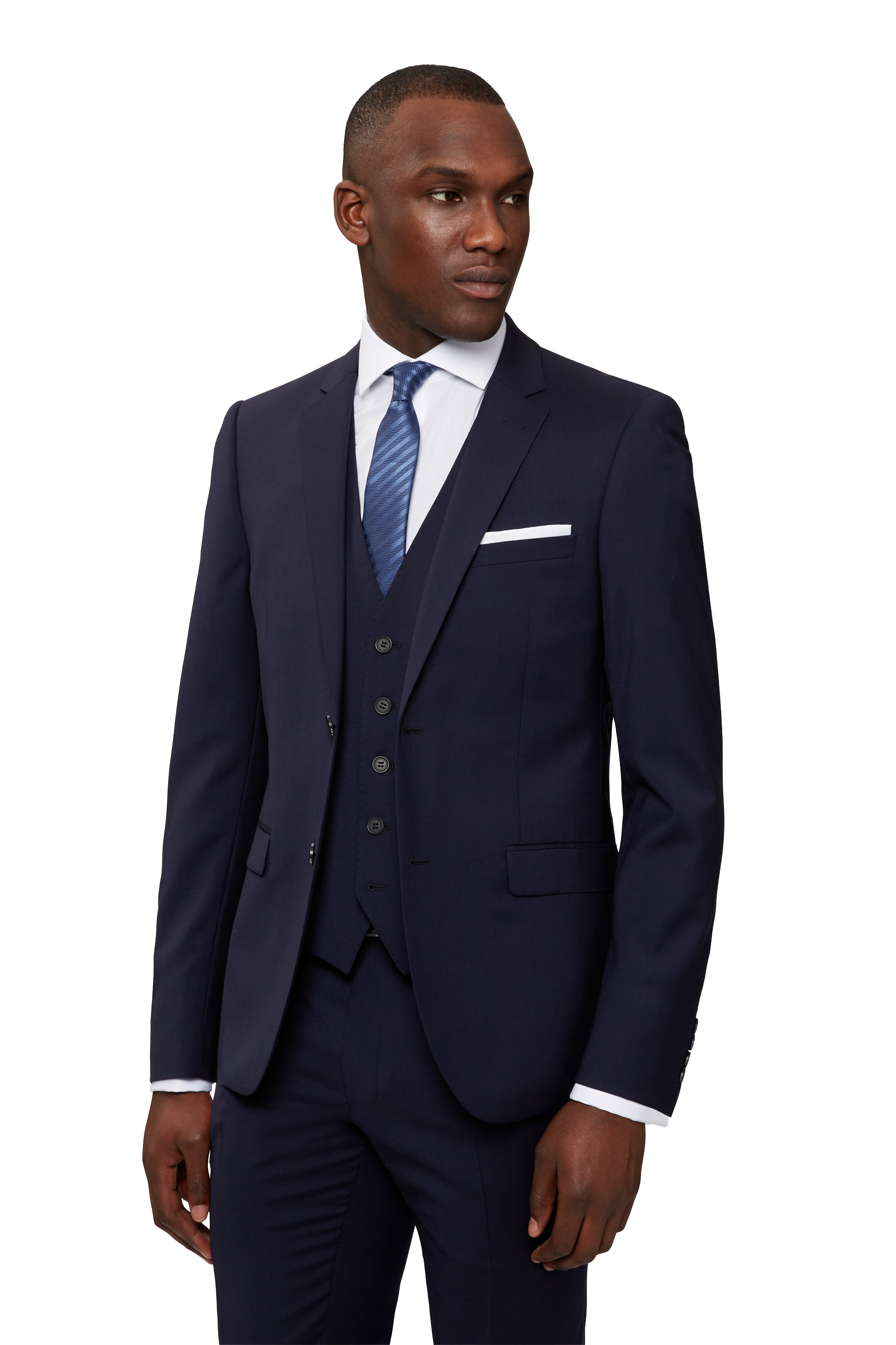 DKNY Mens Navy Blue Suit Jacket Slim Fit Two Button Wool Blazer ...