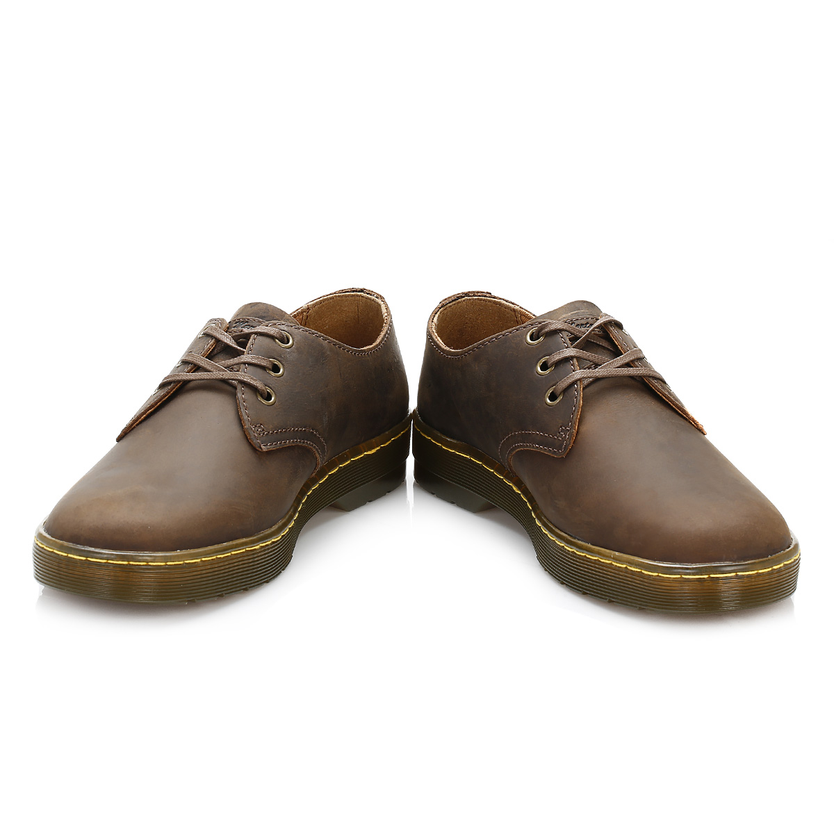 dr martens mens brown leather derby shoes lace up smart