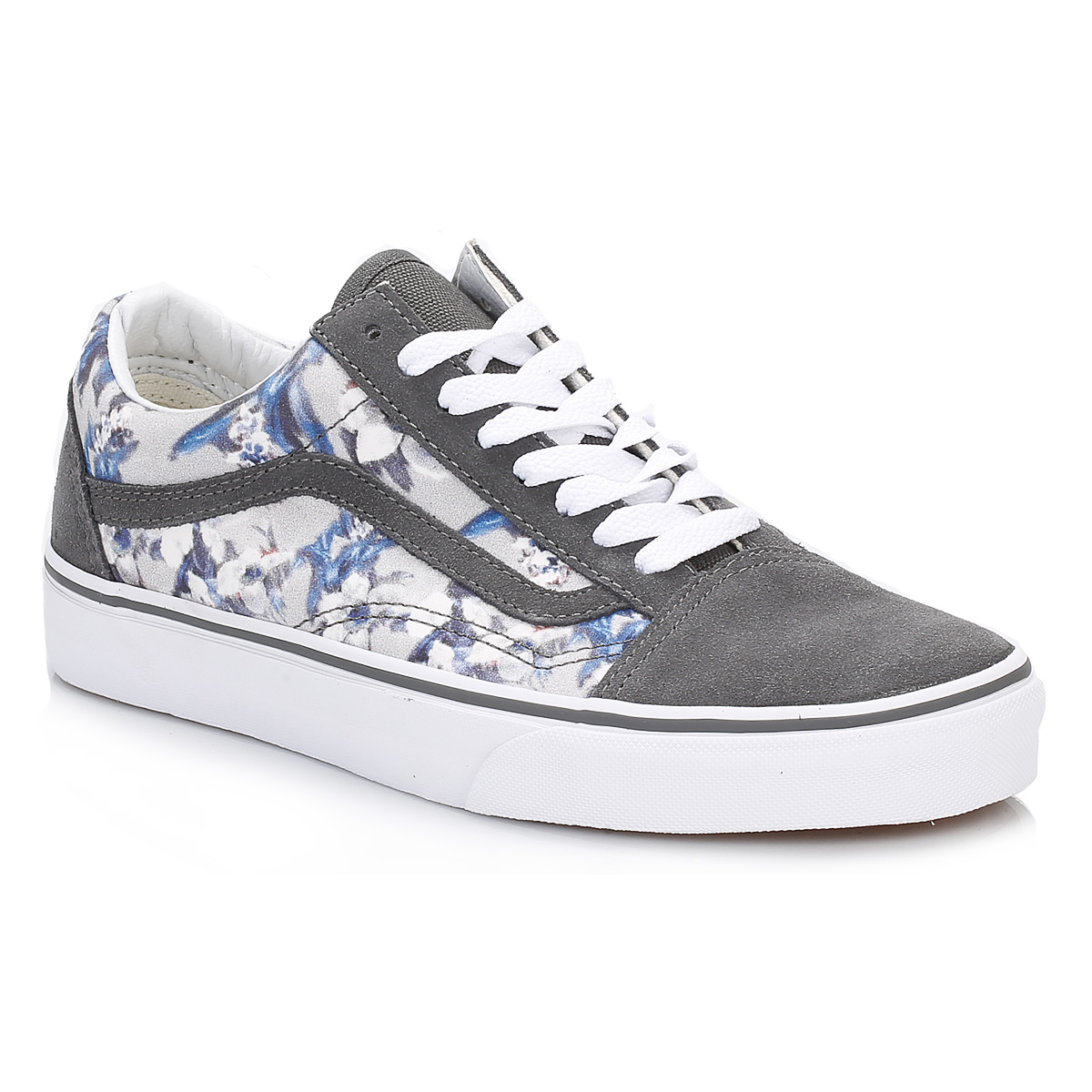 Vans Womens Floral Pewter White Old Skool Suede Trainers