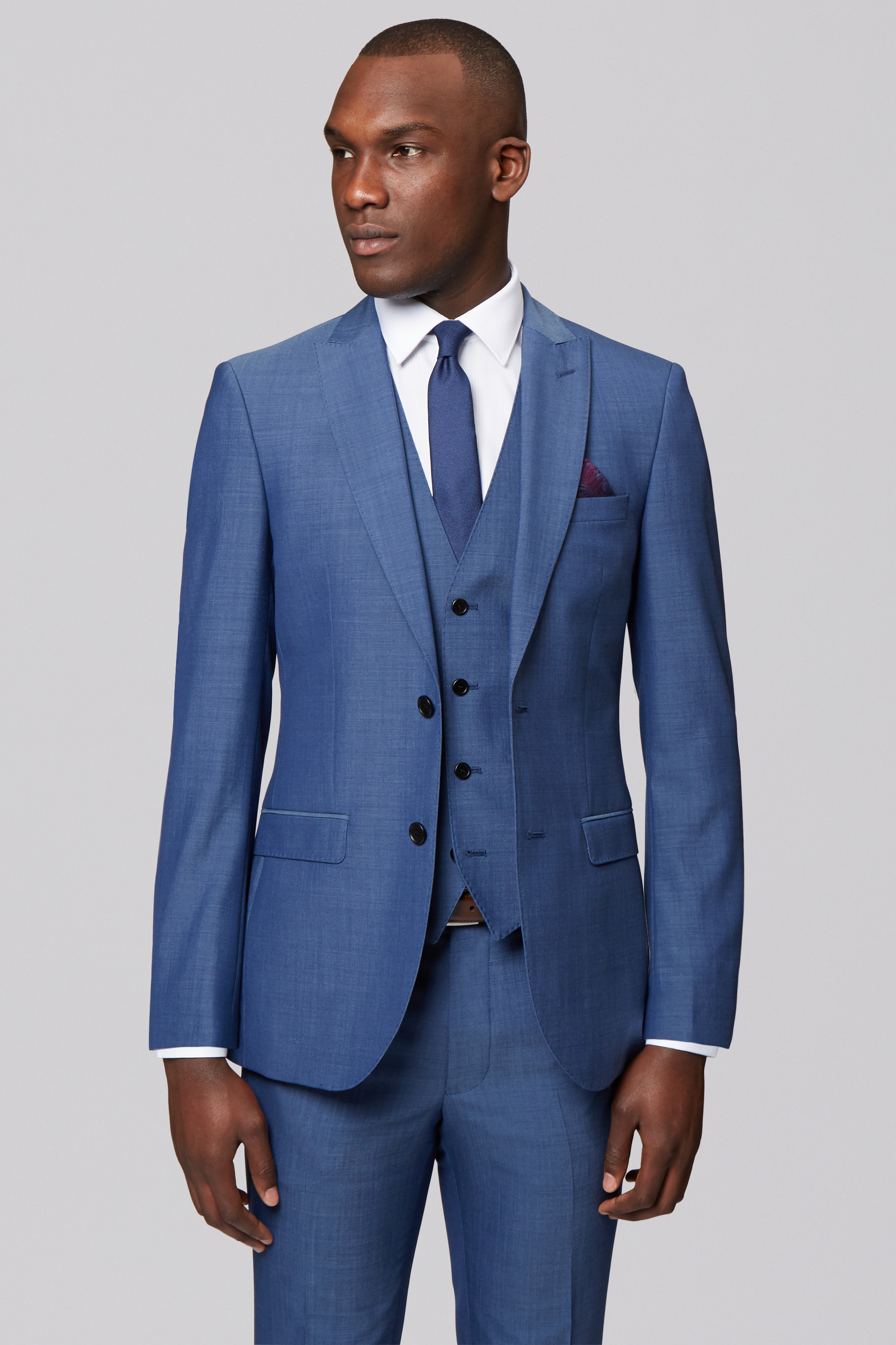 French Connection Mens Blue Suit Jacket Slim Fit Two Button Formal ...
