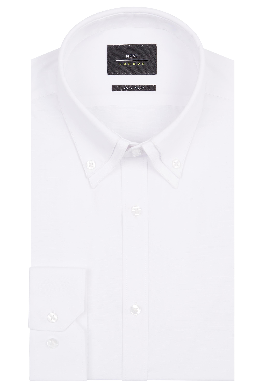 Moss London Mens White Shirt Slim Fit Double Pin Collar