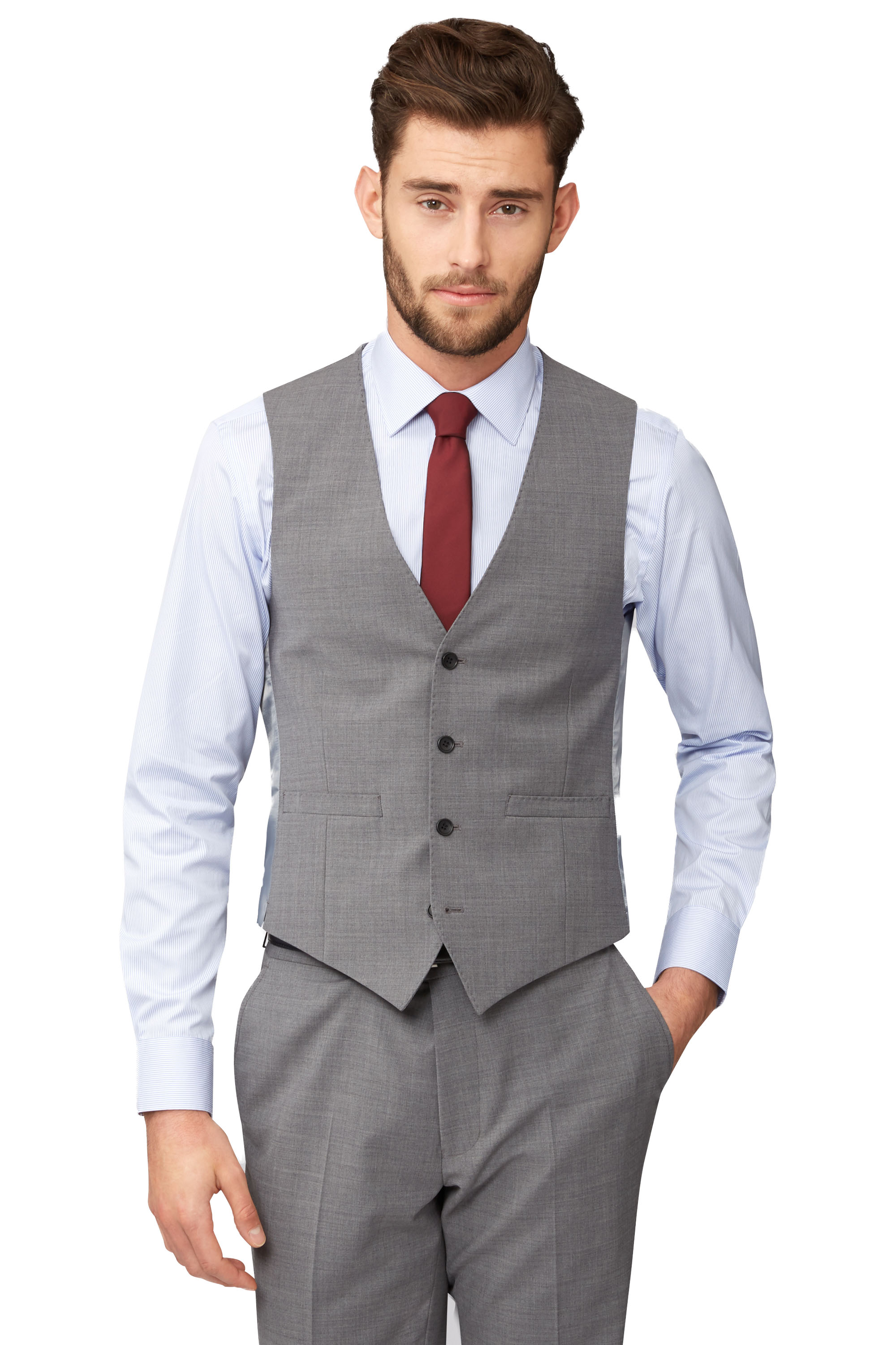 Moss 1851 Mens Grey Waistcoat Tailored Fit Single Breasted Formal ...