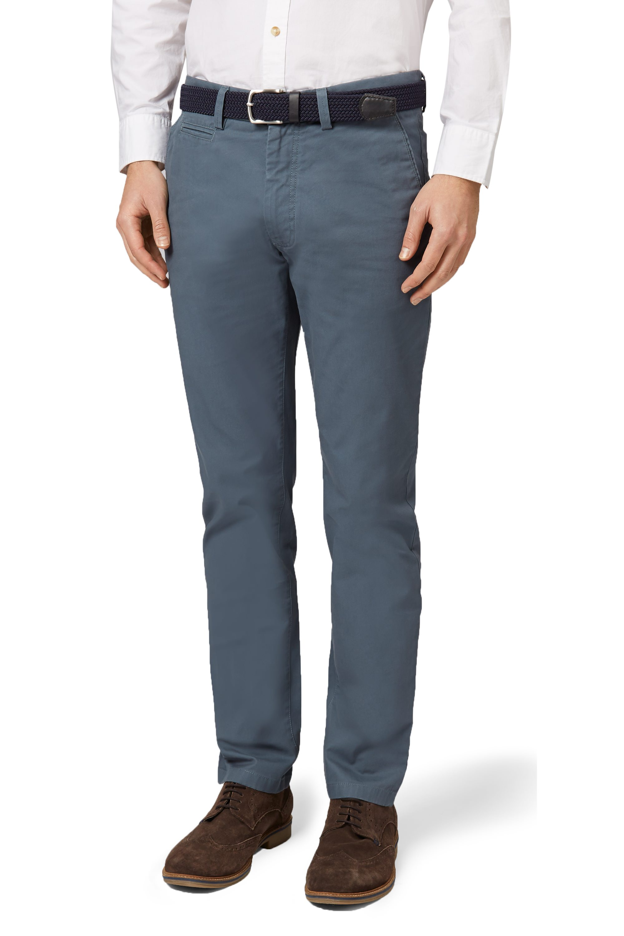 Moss 1851 Mens Blue Chinos Tailored Fit Cotton Trousers Flat Front ...