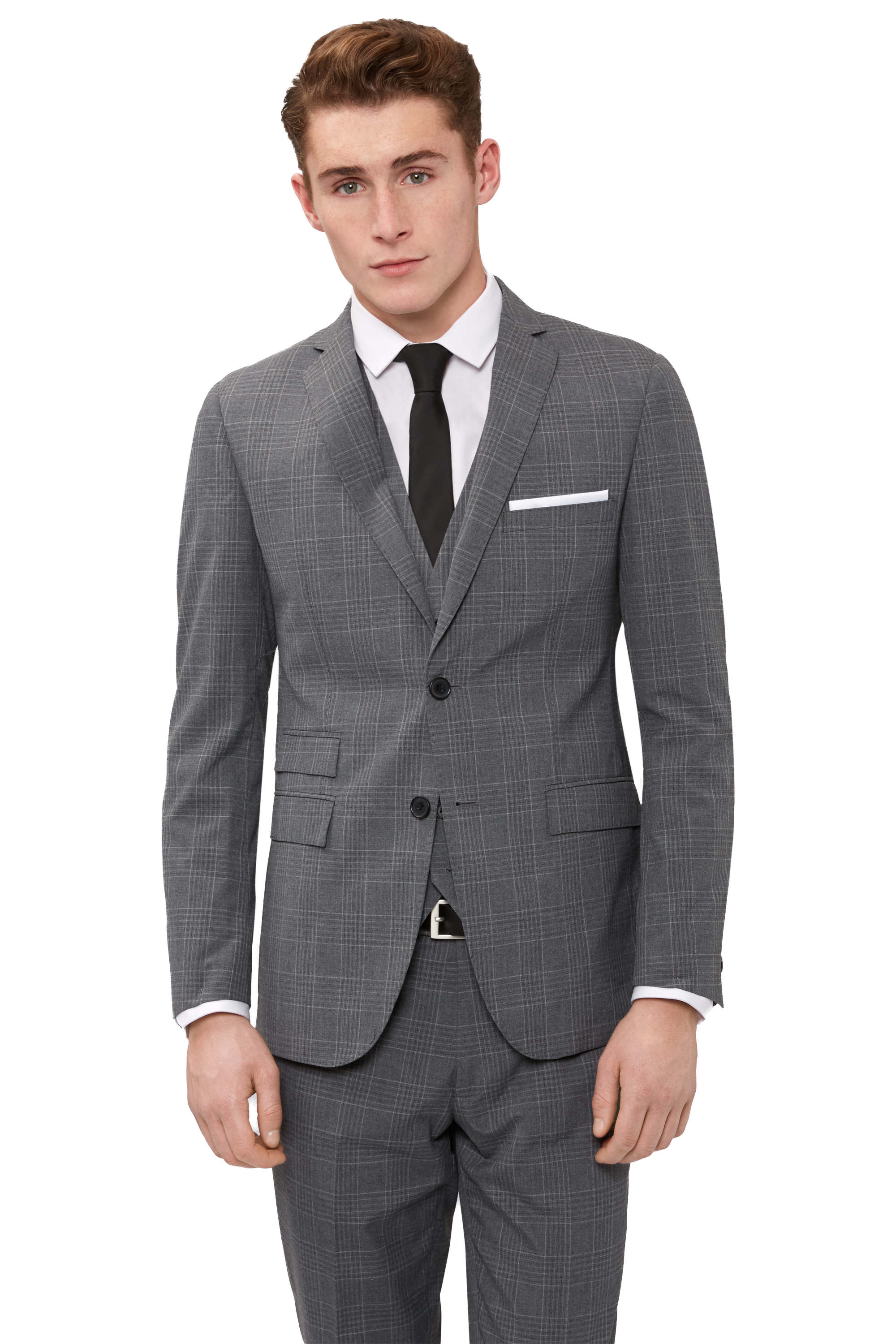 Moss London Mens Check Grey Suit Jacket Skinny Fit Two Button ...