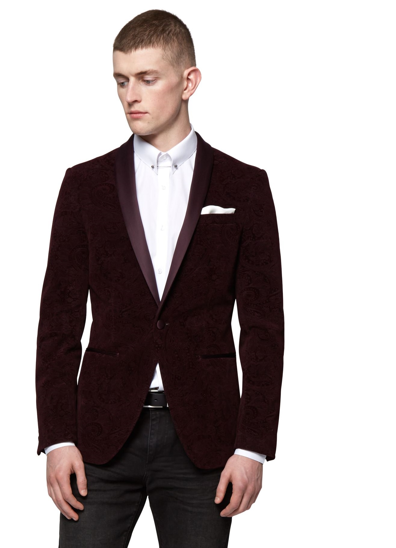 Moss London Mens Wine Red Suit Jacket Slim Fit Paisley Blazer ...