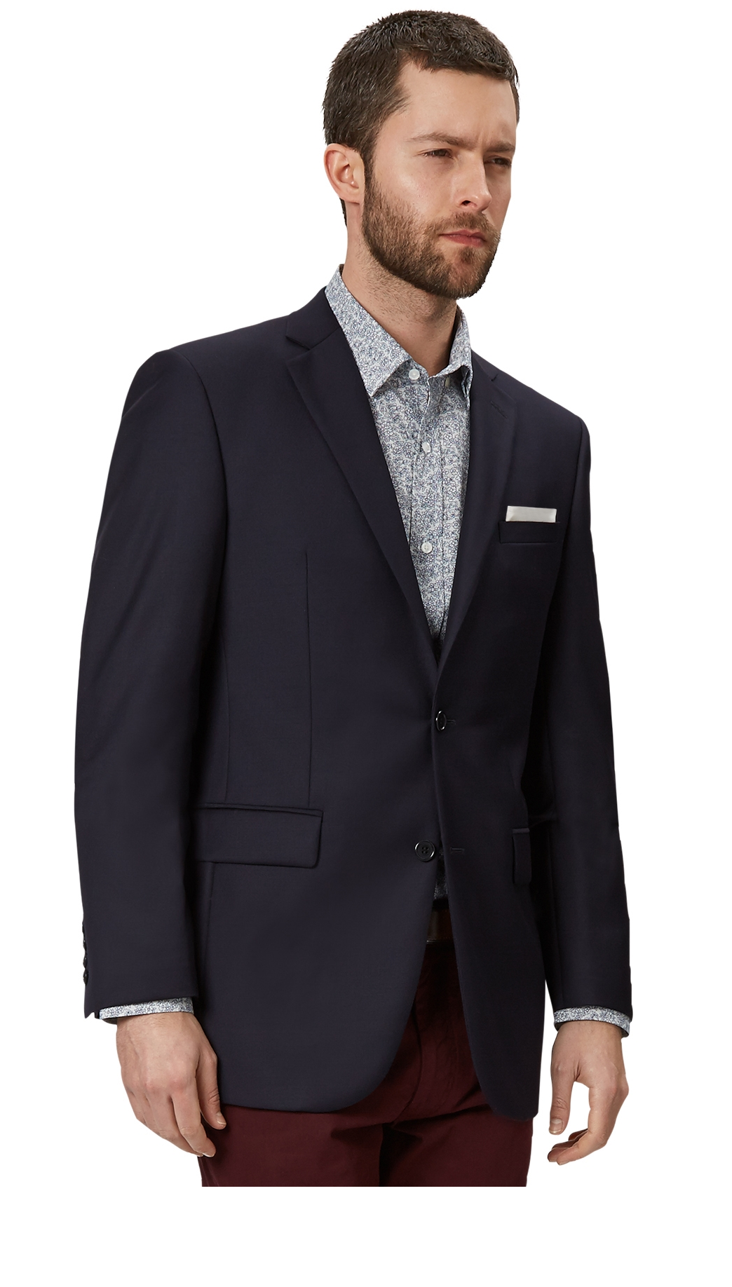 Moss Bros Mens Navy Suit Jacket Tailored Fit Single Breasted Wool ...