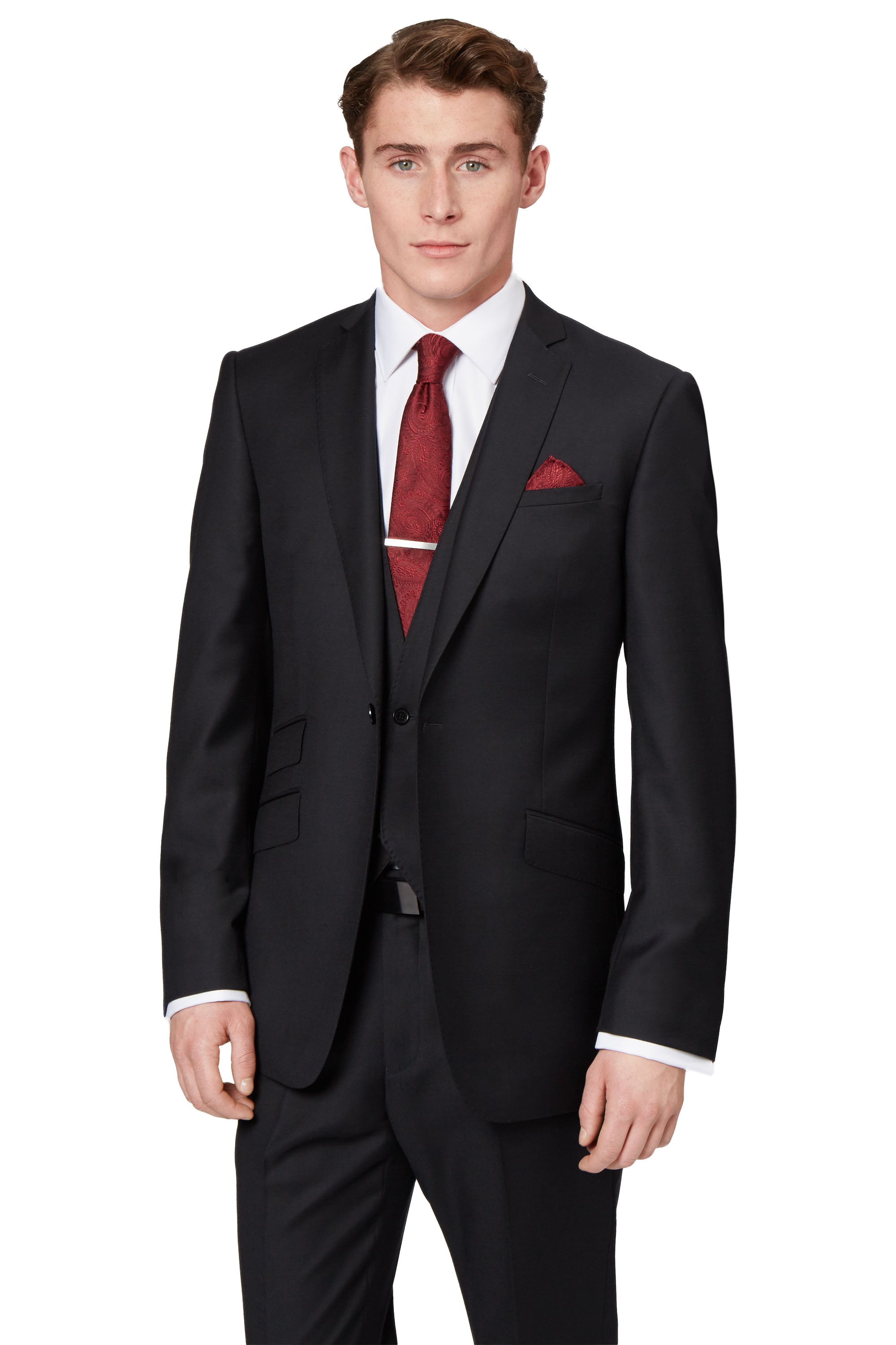Moss London Mens Black Suit Jacket Slim Fit One Button Wool Formal ...