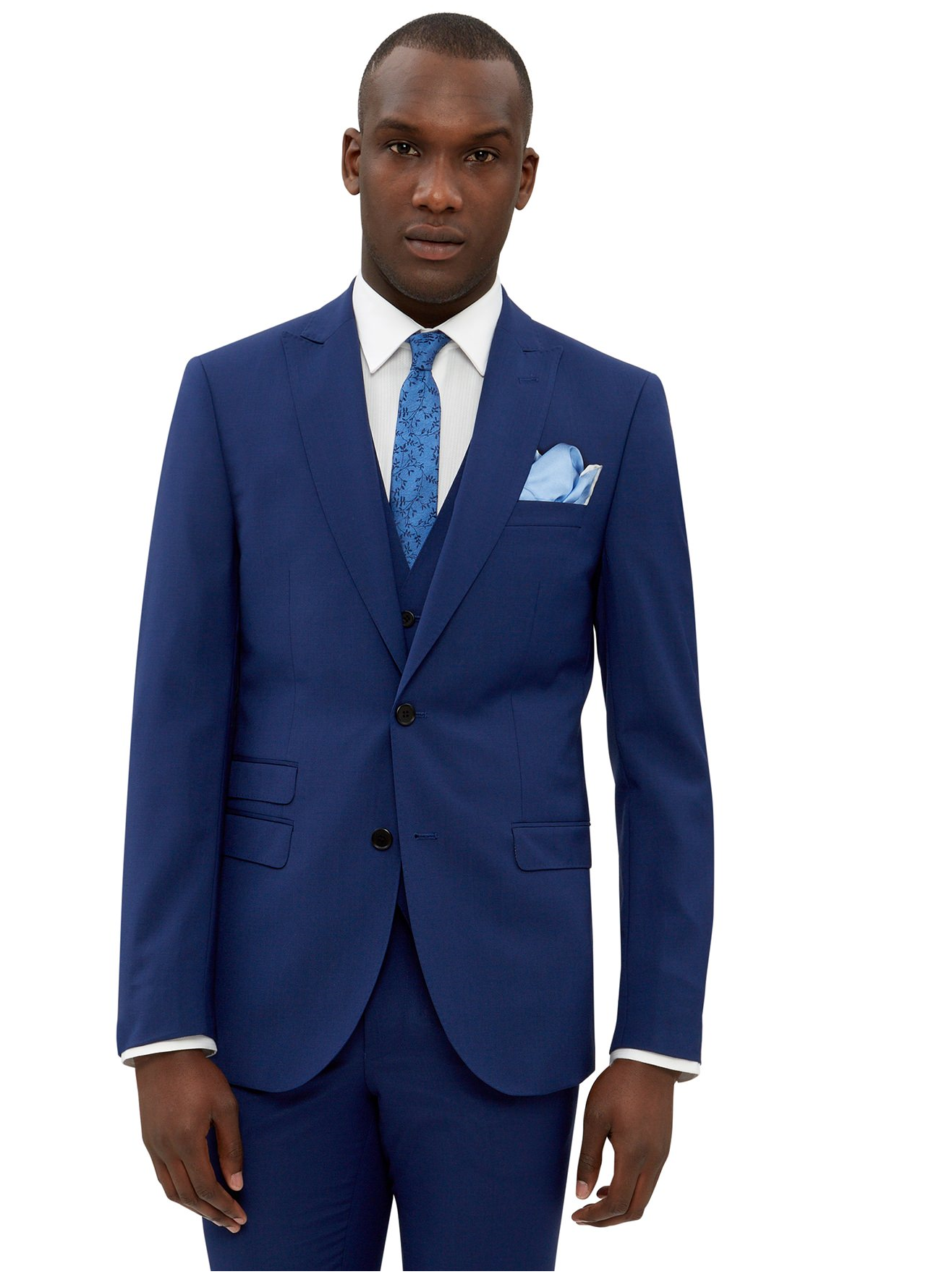 French Connection Mens Blue Suit Jacket Slim Fit Single Breasted ...