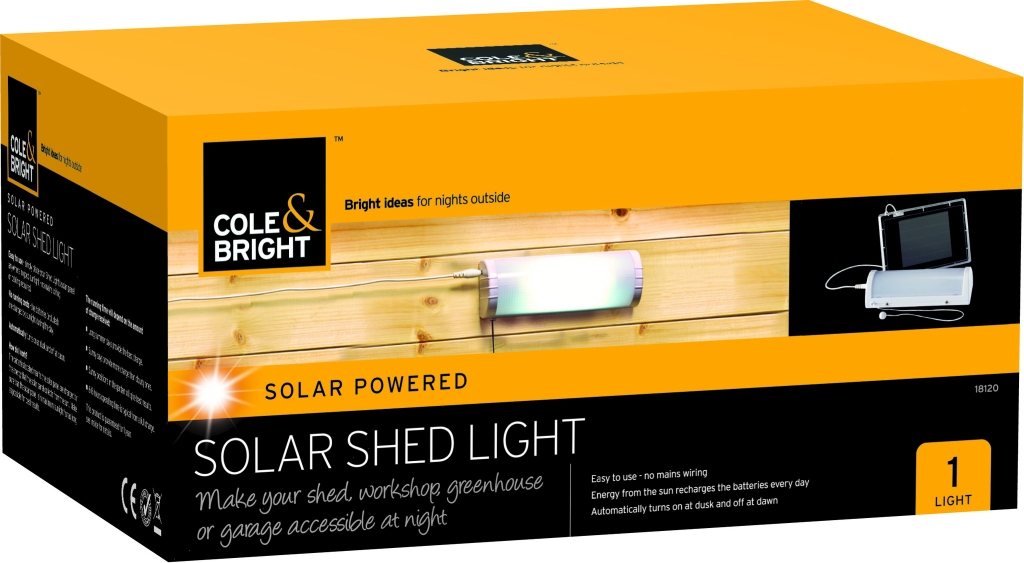 Cole Bright Solar Shed Light Garden Outdoor Garages Wall Fixing