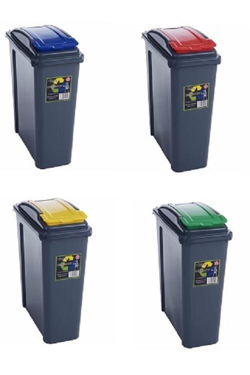 Recycle bin 25 50 litre plastic slimline waste rubbish trash dustbin lid - Slimline waste bin ...