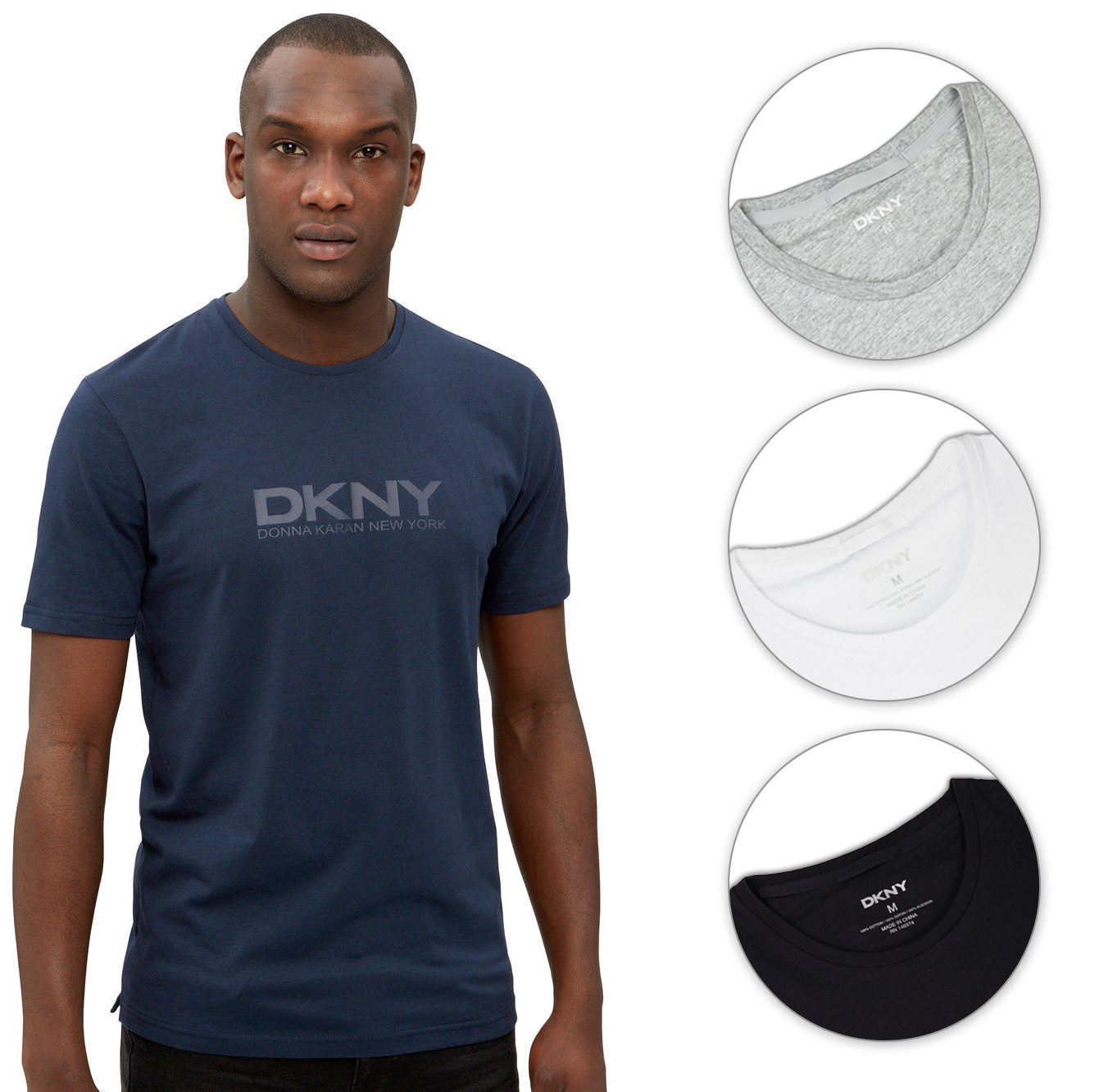 dkny mens t shirt logo crew neck 100 cotton tee casual