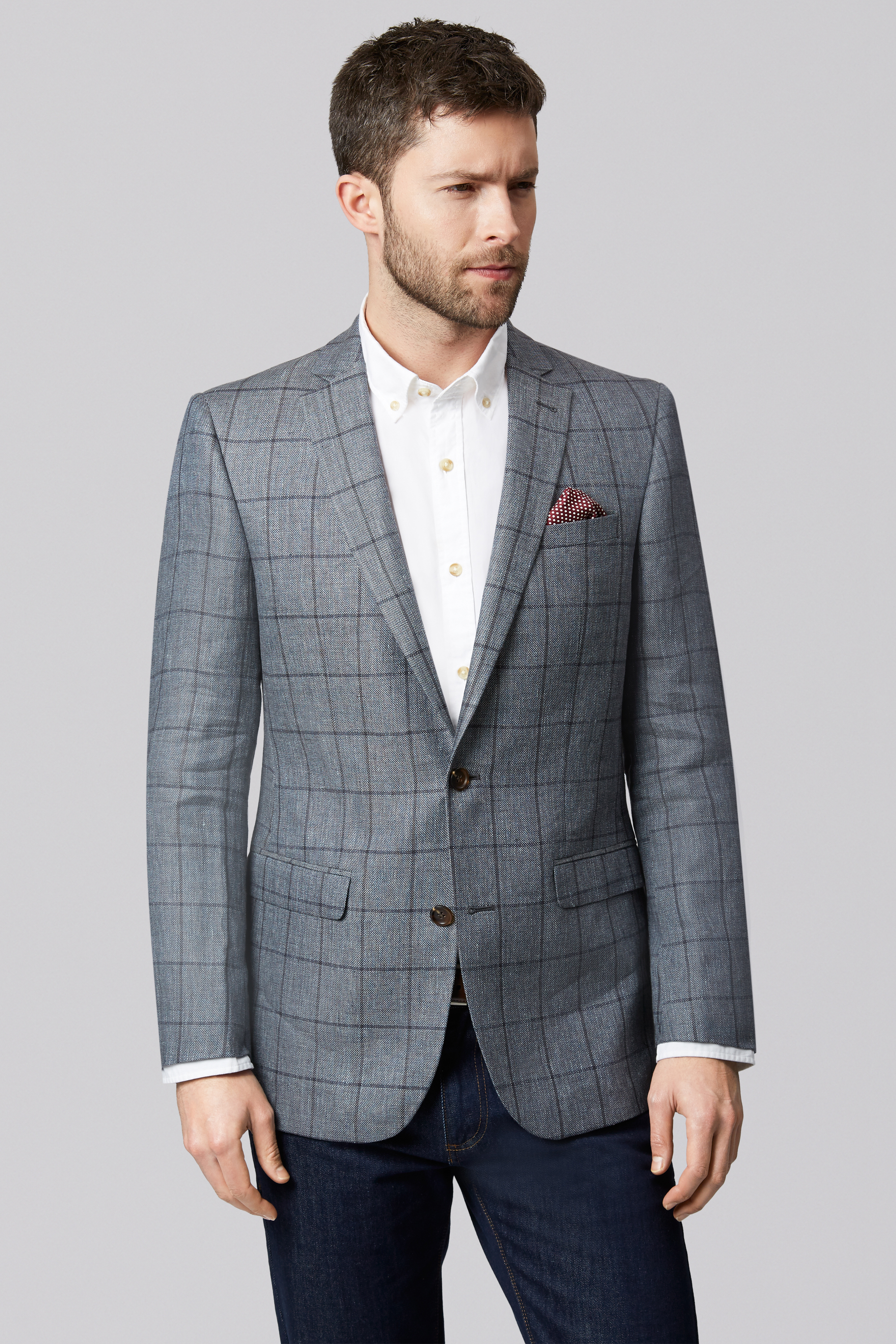 Moss 1851 Mens Suit Jacket Tailored Fit Grey Check Design Dinner ...