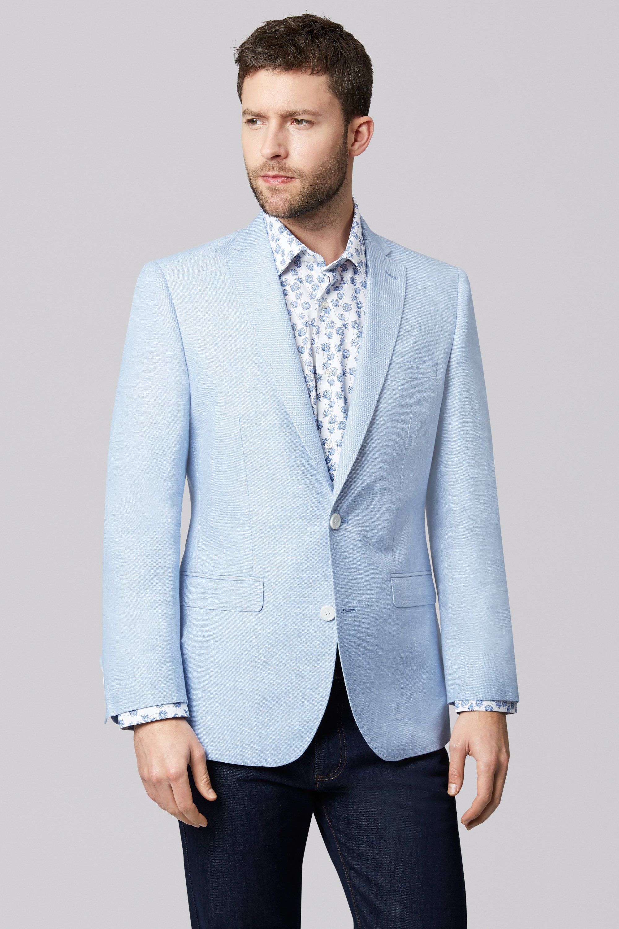 Moss 1851 Mens Sky Blue Suit Jacket Tailored Fit Two Button Formal ...