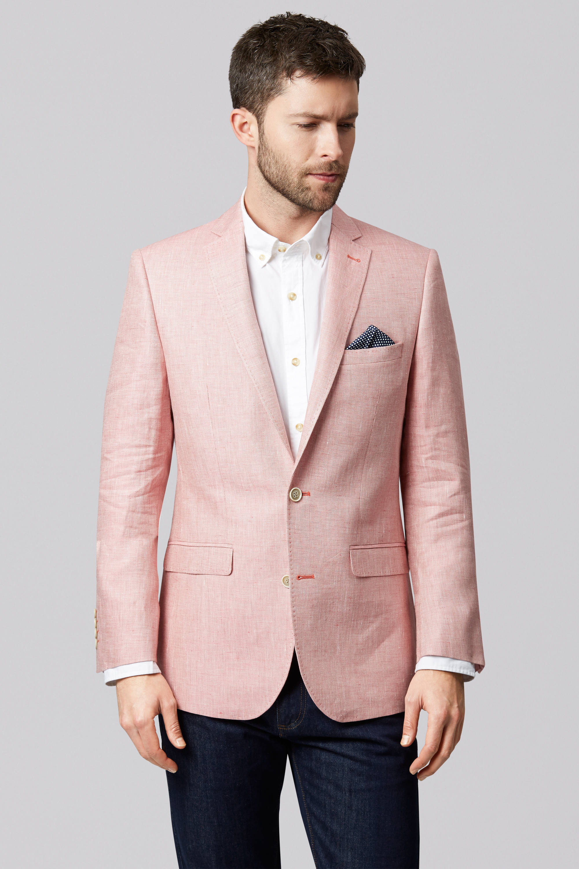 Moss 1851 Mens Coral Pink Suit Jacket, Tailored Fit, Two Button ...