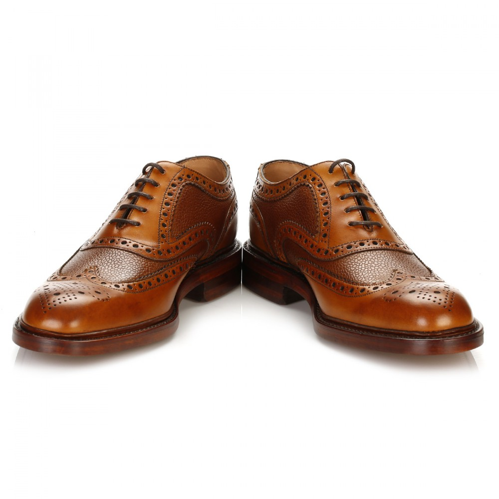 Mens Tan Leather Wingtip Shoes