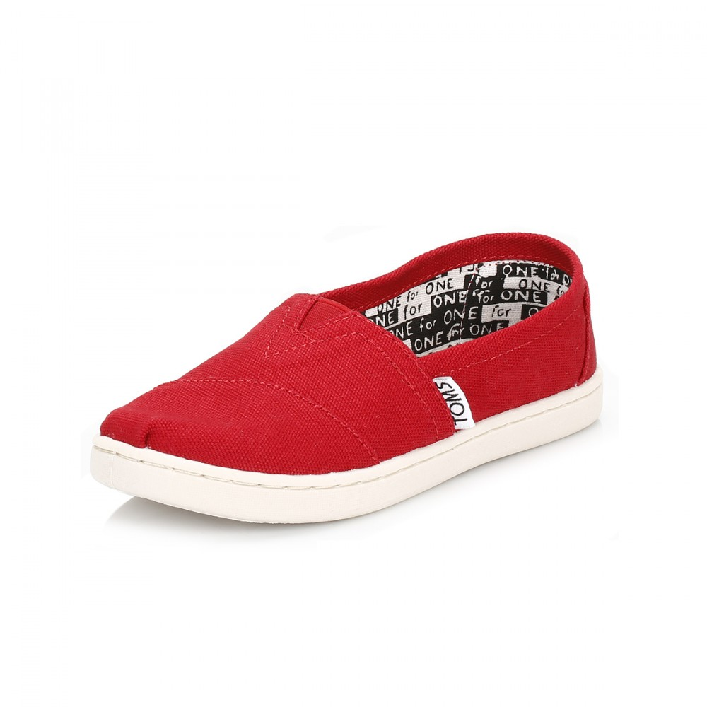 TOMS Classic Kids Girls Espadrilles Red Canvas Slip On ...