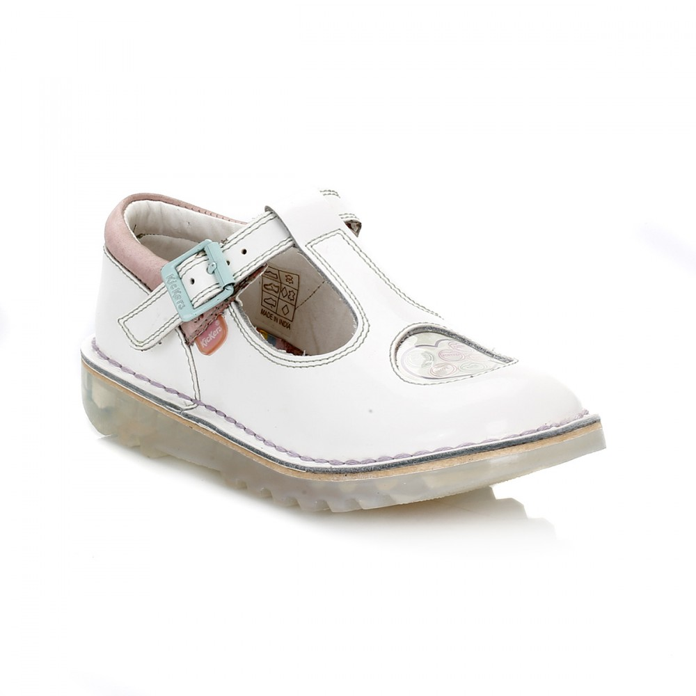 kickers kids juniors shoes kick t bar buckle leather