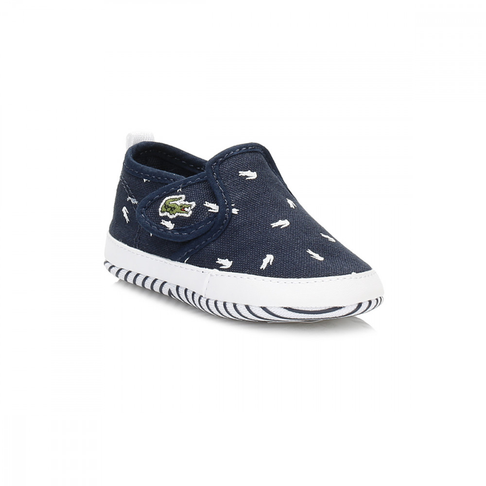 Lacoste Kids Baby Trainers Gazon Crib Canvas Slip Shoes