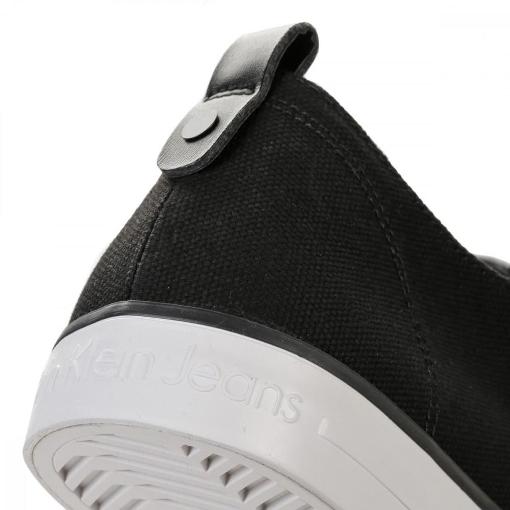 calvin klein mens trainers black white arnorld canvas lace