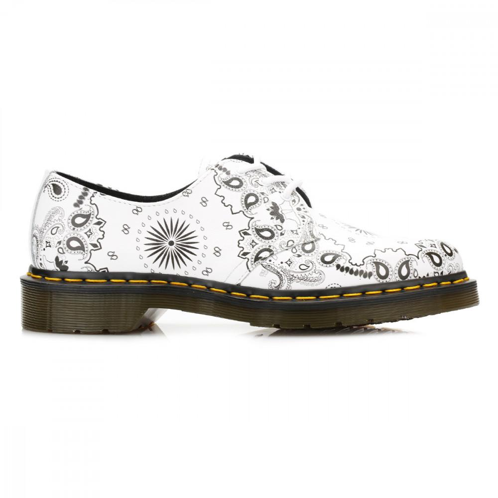 Dr. Martens Blanco Bandana 1461 Cuero Zapatos-UK 3 gKZ57k