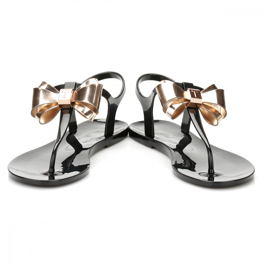 6238feff1 Ted Baker Womens Sandals AINDA Black Cream Rose Gold Casual Summer ...