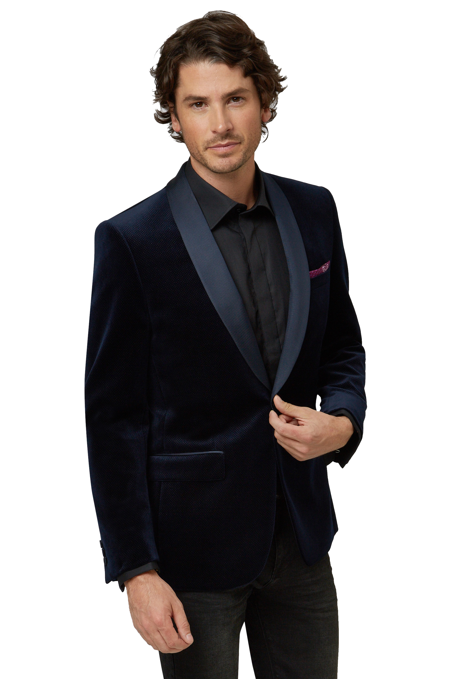 Moss 1851 Mens Navy Blue Suit Jacket Velvet Tailored Fit One ...