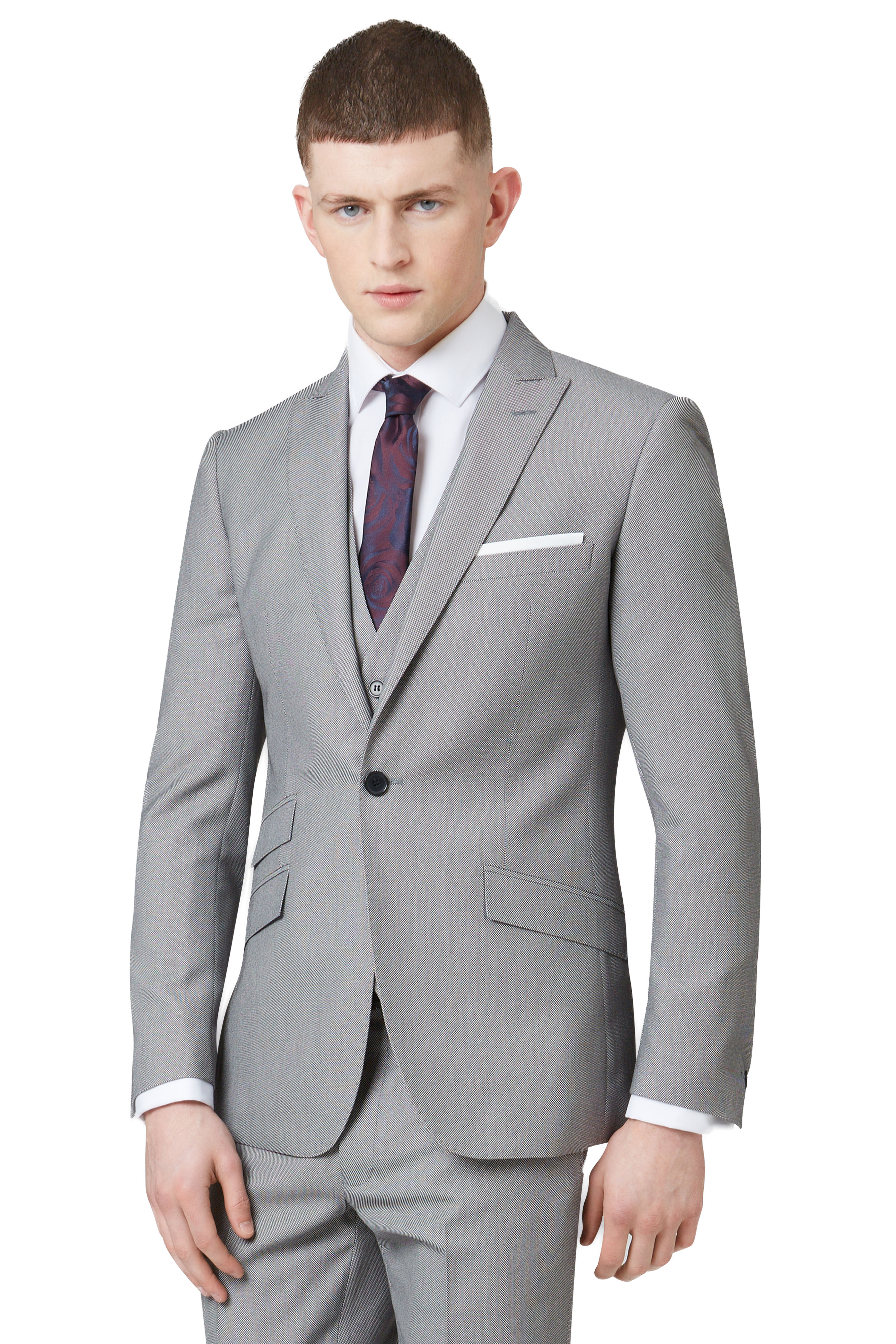 Moss London Mens Grey Formal Suit Jacket Slim Fit One Button ...