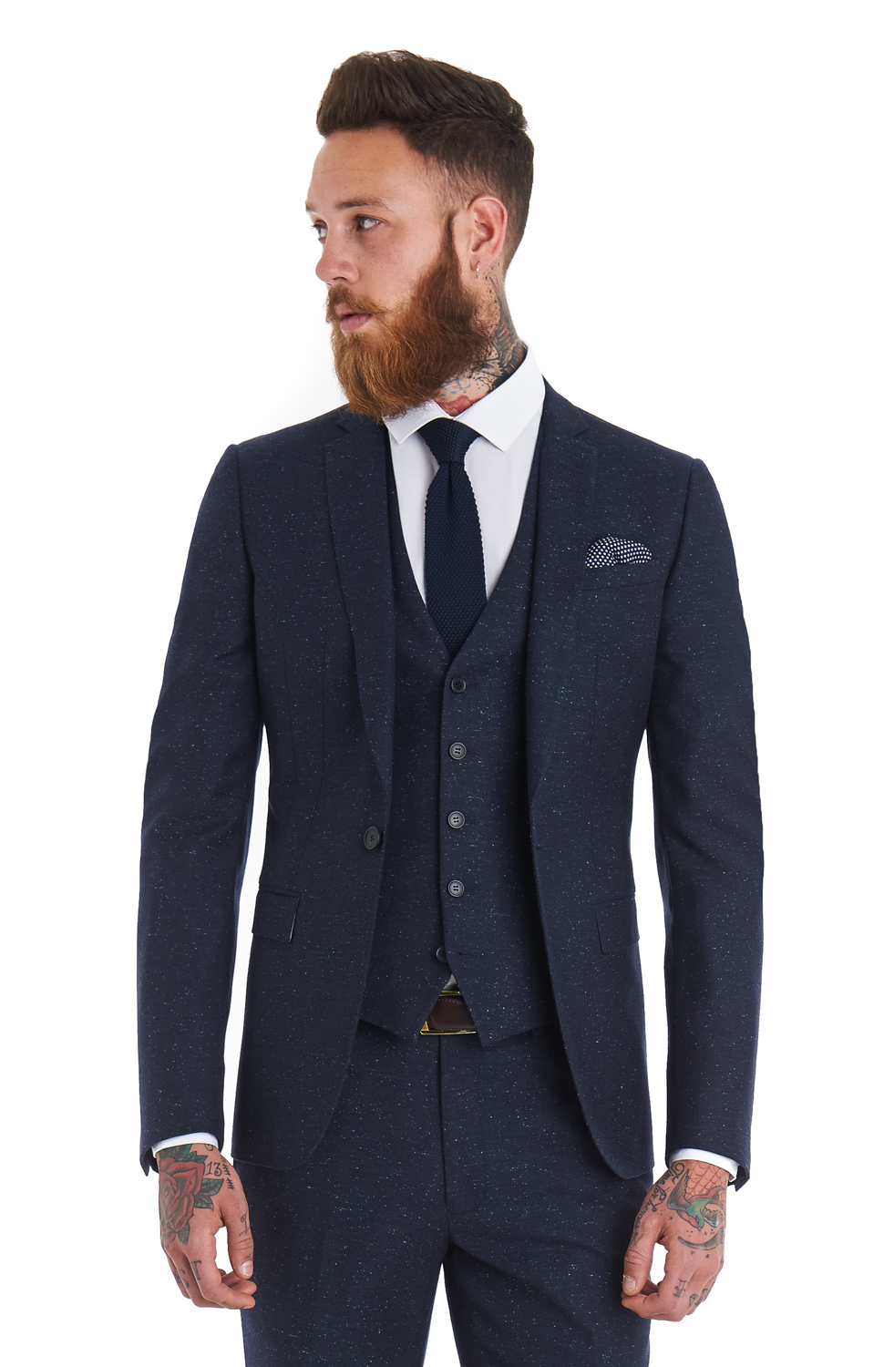 Moss London Mens Slim Fit Single Breasted Notch Lapel Blue 3 Piece ...