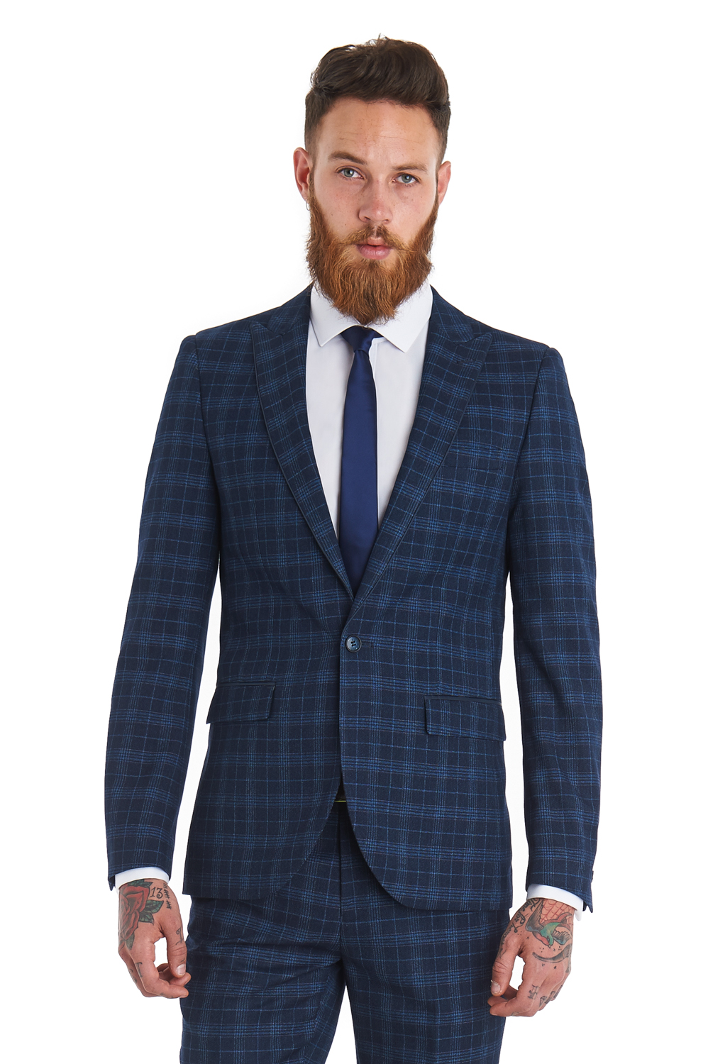 Moss London Mens Suit Slim Fit Single Breasted One Button Blue ...