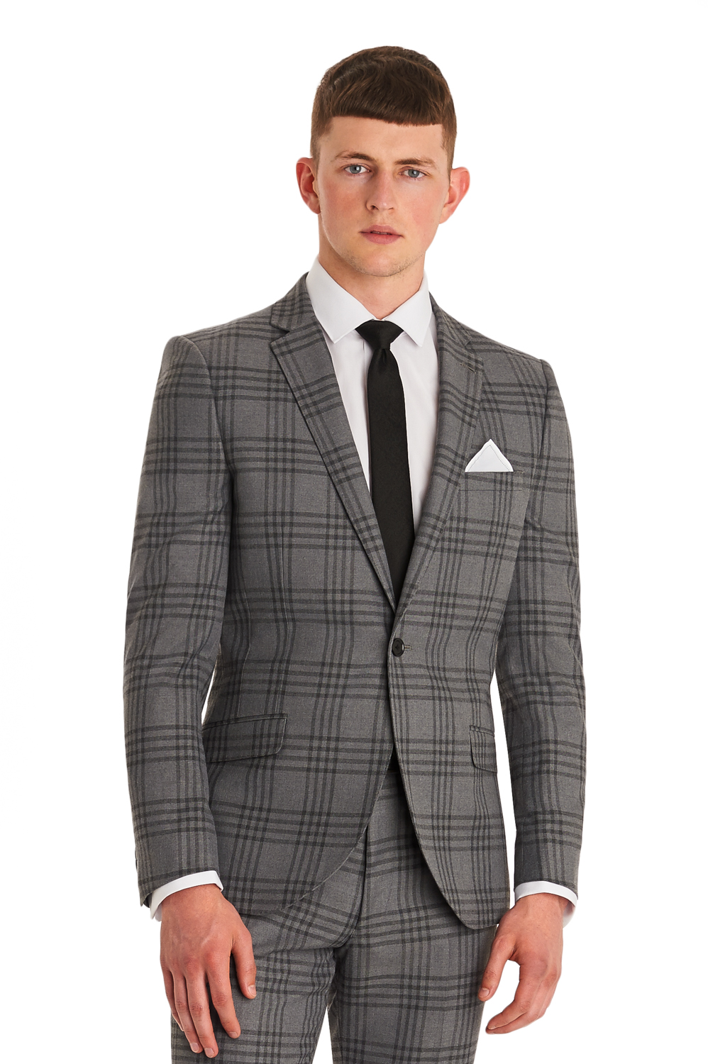 Moss London Mens Suit Slim Fit Grey Check Single Breasted Notch