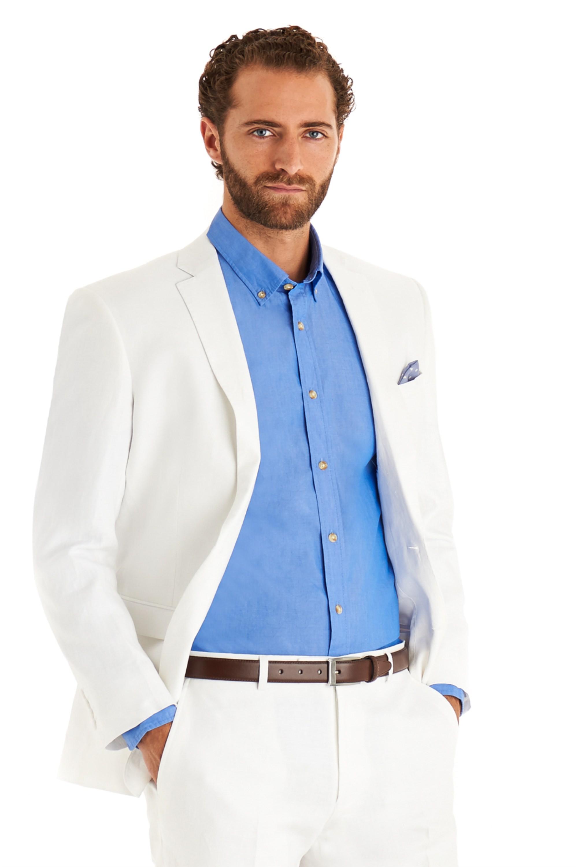 Moss 1851 Men White Suit Jacket Tailored Fit Single Ted Linen Formal Blazer Ebay
