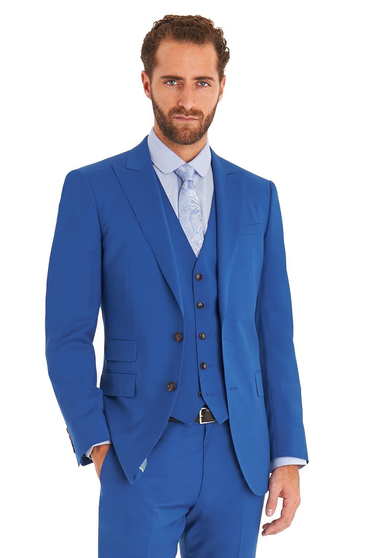 Moss 1851 Mens Suit Tailored Fit Marine Blue 3 Piece 2 Button Peak