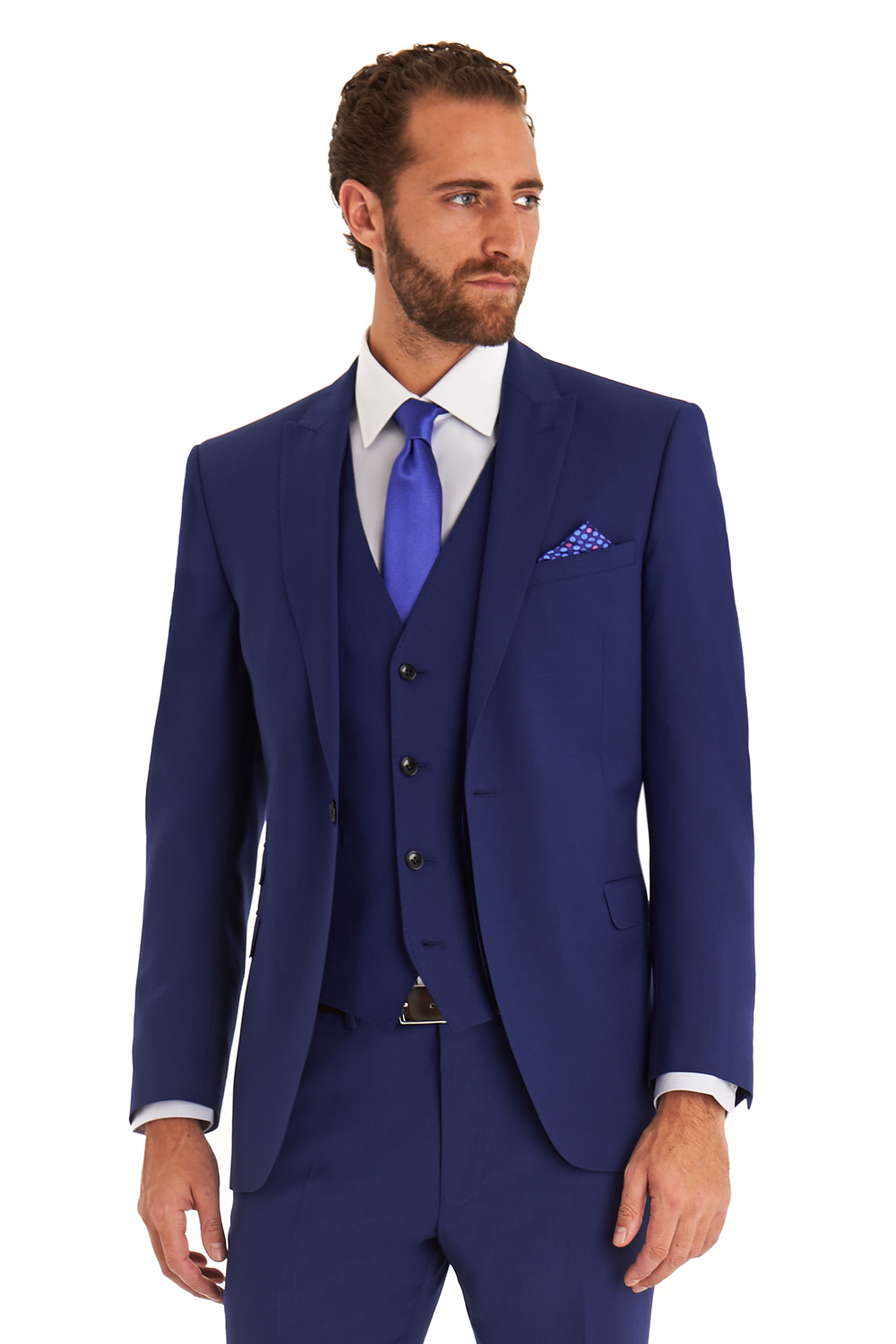 Moss 1851 Mens Tailored Fit Bright Blue Mohair 3 Piece Suit Formal ...