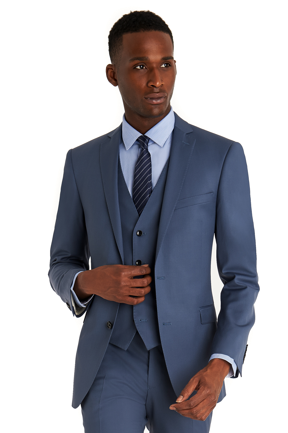 French Connection Mens Suit Slim Fit Powder Blue 3 Piece Single ...