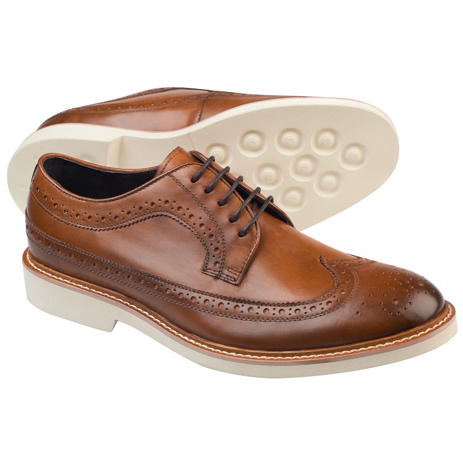 white mens formal shoes chaucer brogue brown leather