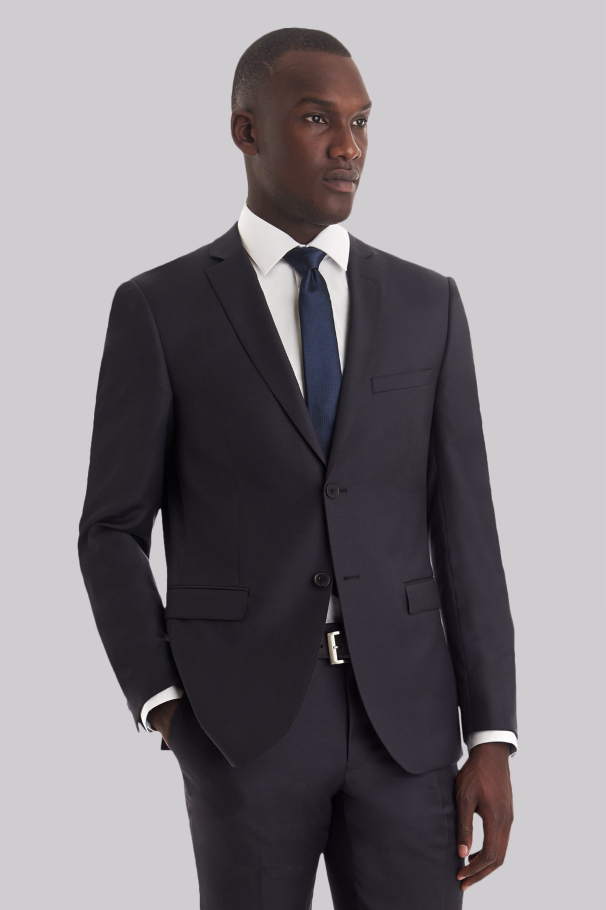 DKNY Mens Slim Fit Slate Grey Suit Single Breasted Two Button Wool