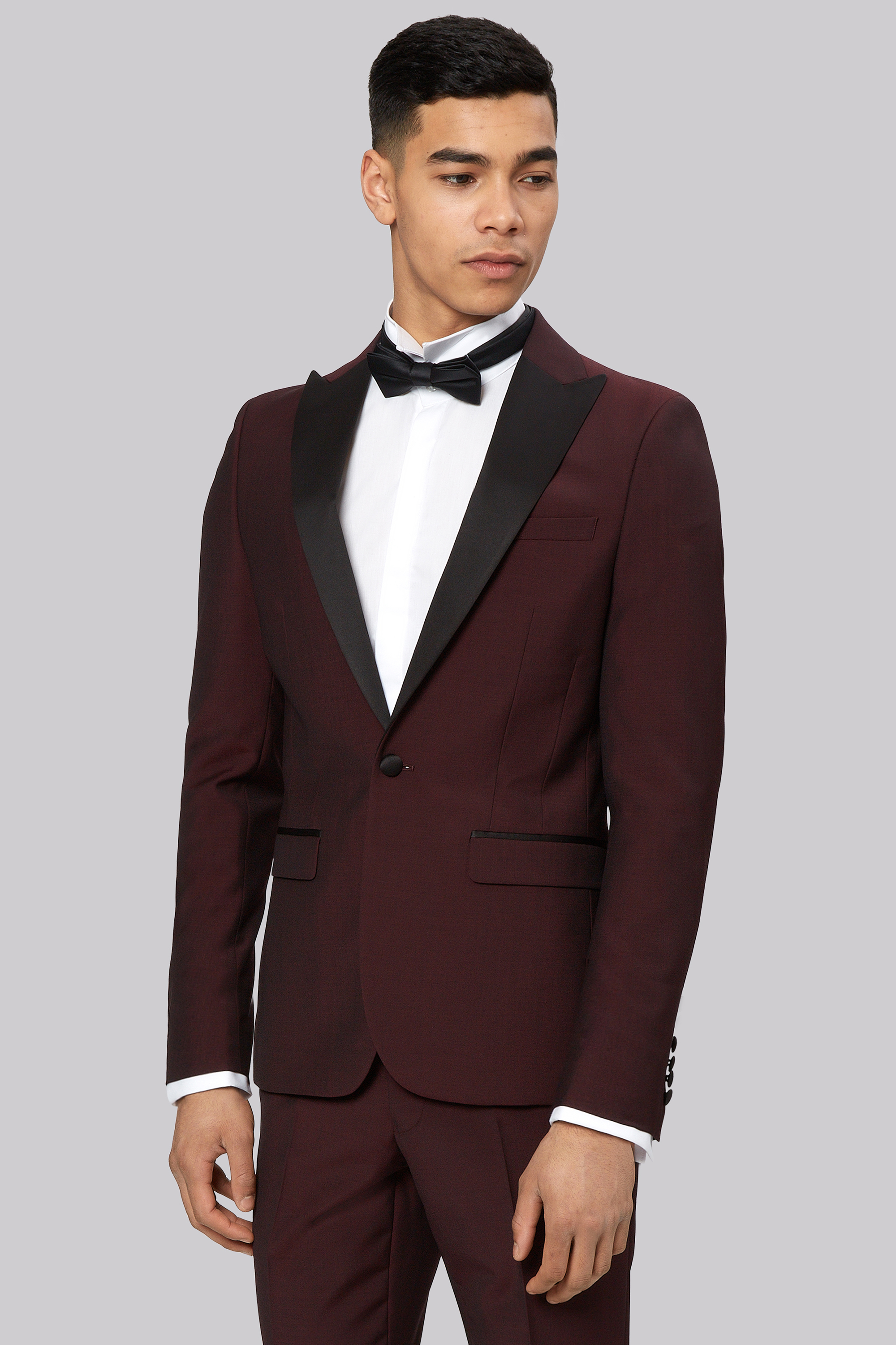 Moss London Men Tuxedo Dinner Suit Skinny Fit Claret Red ...