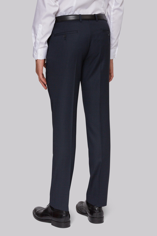 Dkny mens formal suit trousers slim fit navy blue birdseye wool blend
