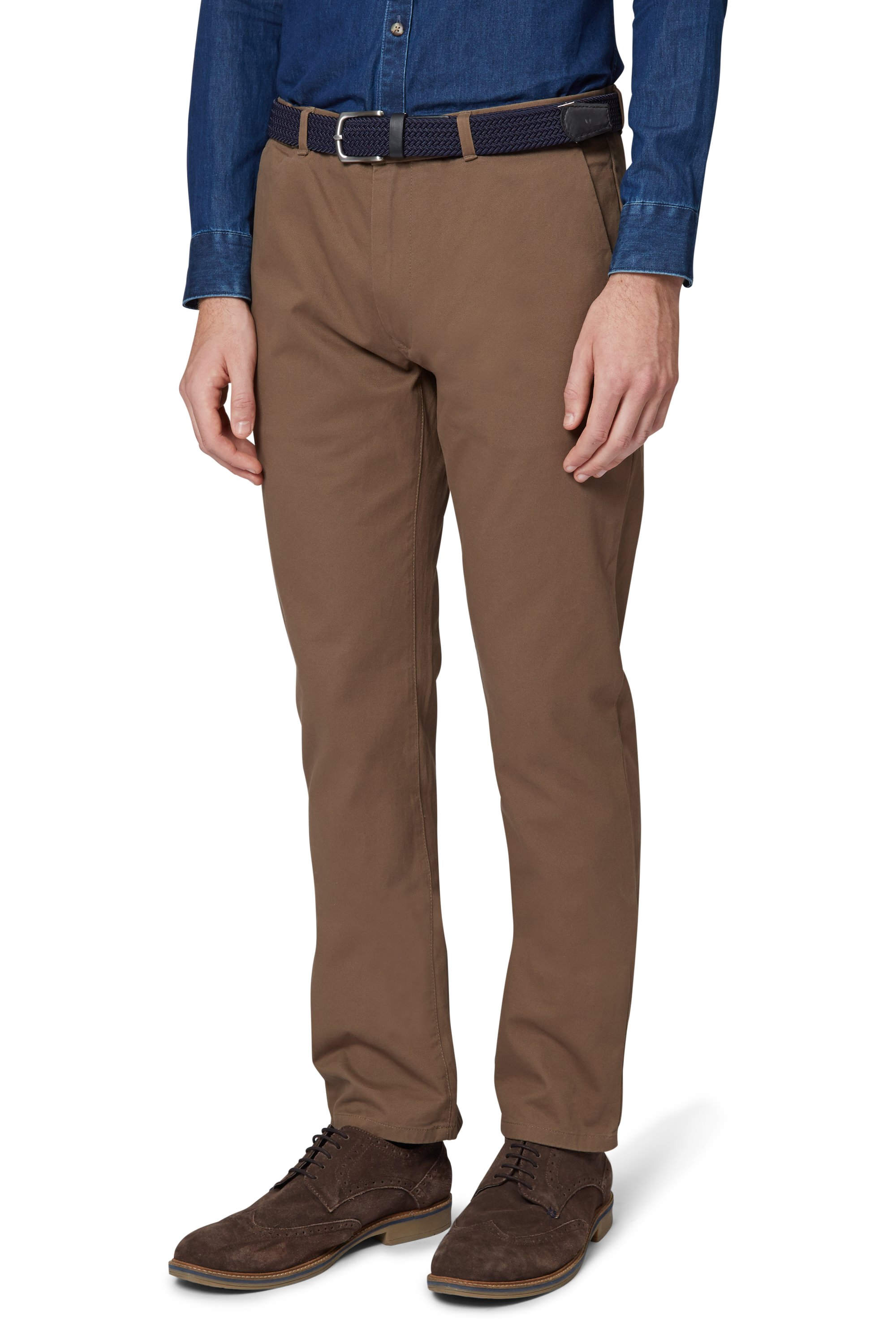 Moss London Mens Tobacco Brown Chinos Slim Fit Trousers ...