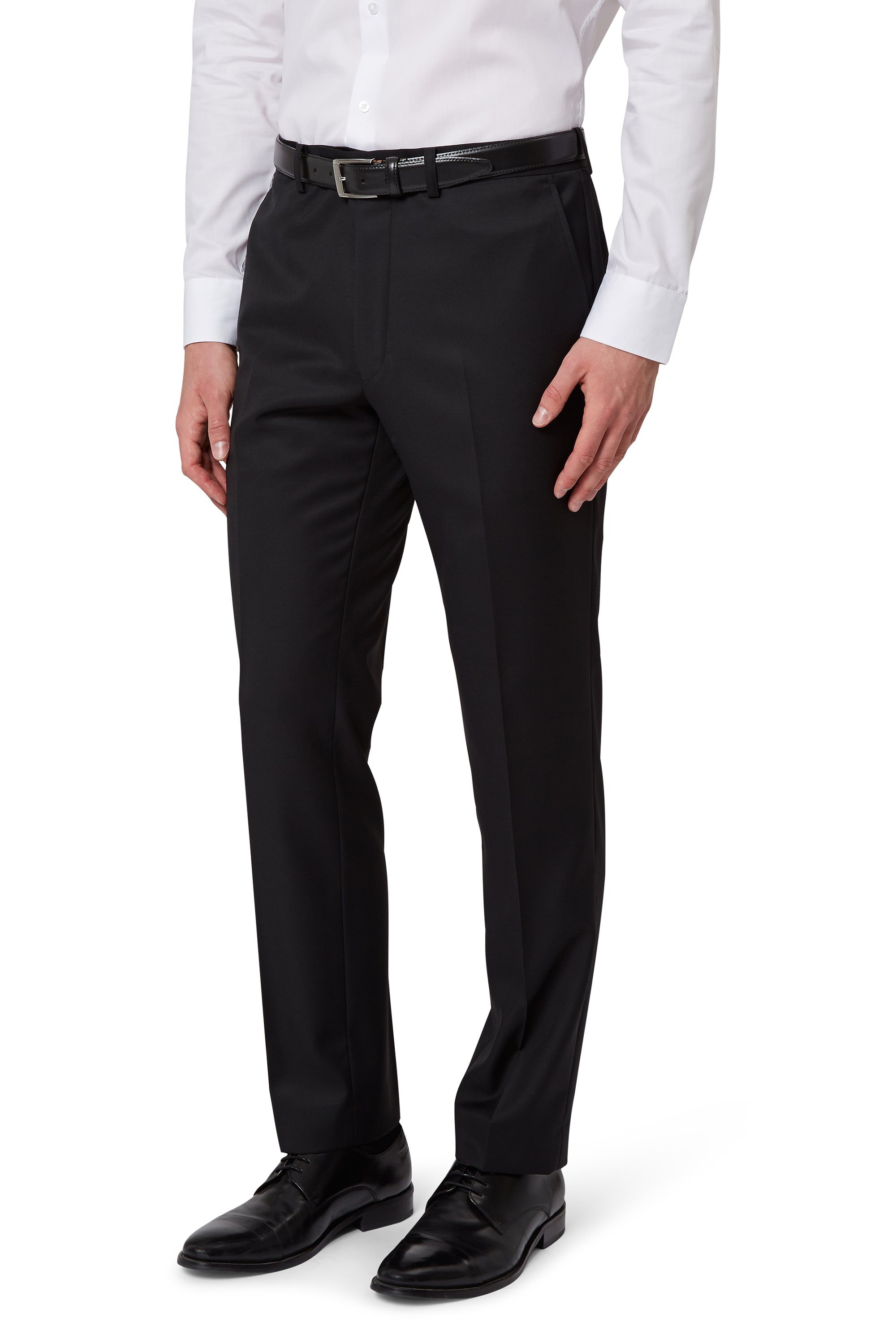 French Connection Black Tuxedo Trousers Slim Fit Flat Front Suit ...