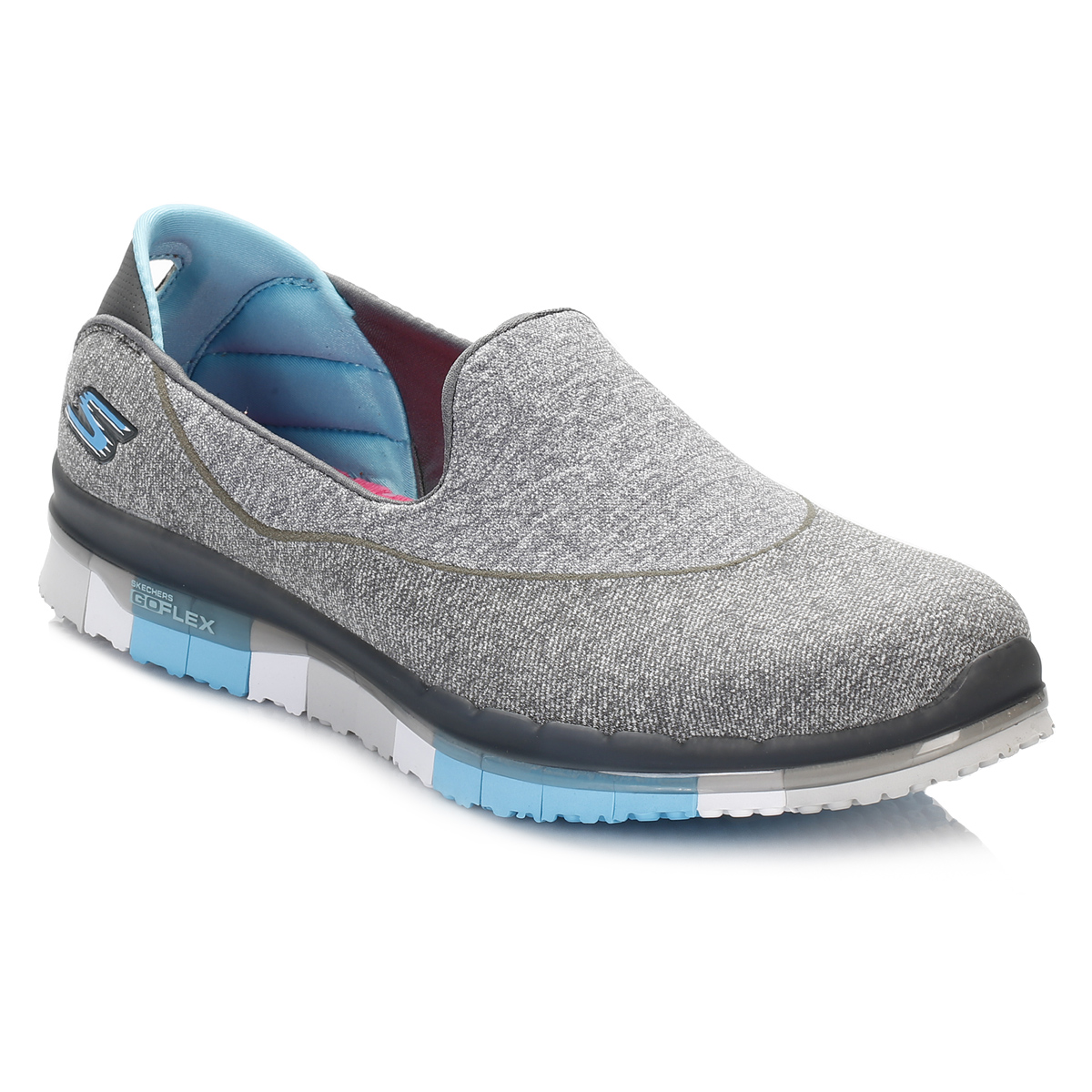 skechers womens charcoal grey go flex walk shoes textile slip on casual ladies ebay. Black Bedroom Furniture Sets. Home Design Ideas
