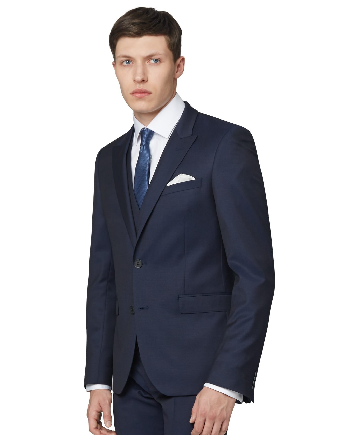 DKNY Mens Ink Blue Twill Suit Jacket Slim Fit Single Breasted Two ...