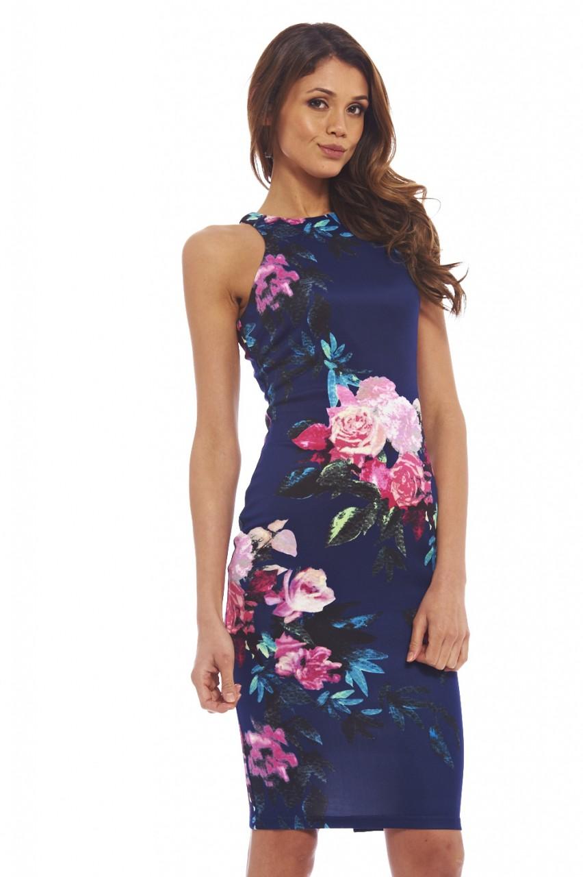 AX Paris Womens Floral Print Midi Bodycon Dress, Cut In ...