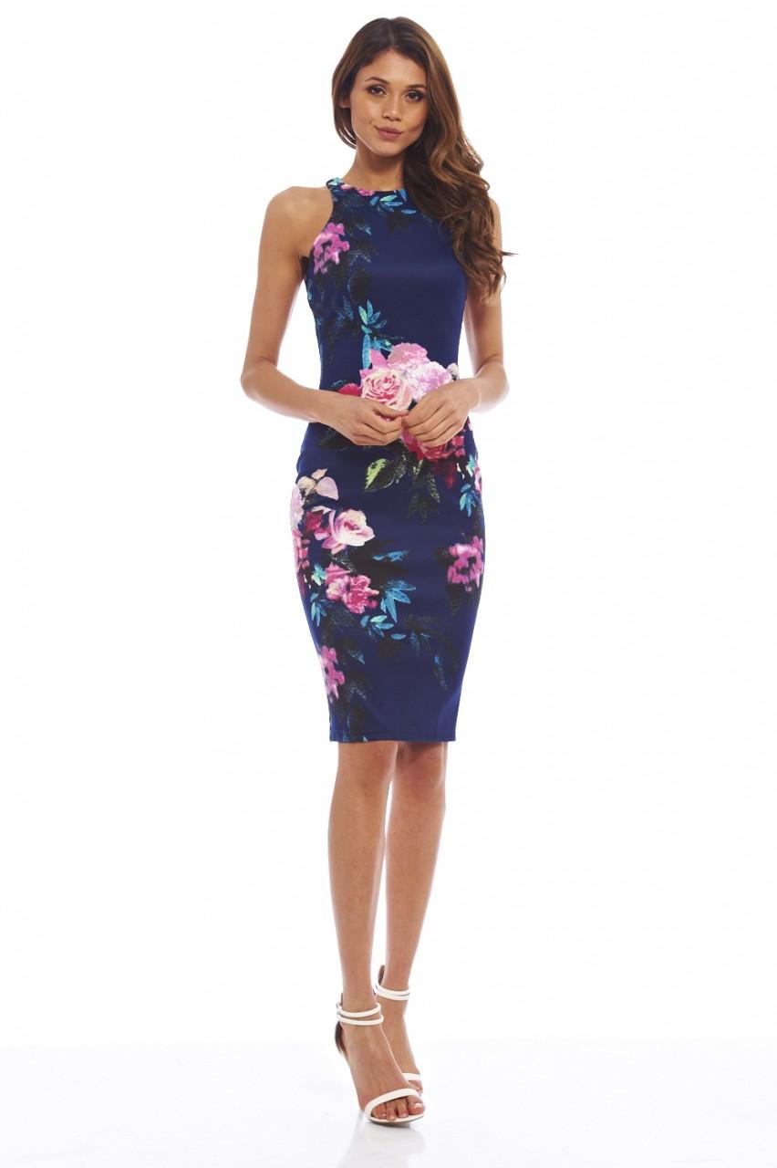 ax womens floral print midi bodycon dress cut in